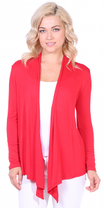 Super-Soft Open Front Drape Cardigan - Made In USA - Red