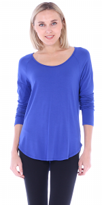 Womens Scoop Neck Tunic Tops Long Sleeve Wear with Leggings - Made In USA - Royal