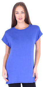 Womens Cap Sleeve Round Neck Tunic Top Wear with Leggings - Made in USA - Royal