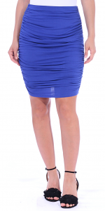 Womens Ruched Bodycon Pencil Skirt High Waist Above Knee - Made in USA - Royal