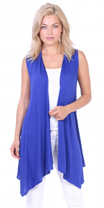 Women's Sleeveless Long Drape Cardigan Plus Size Available - Made In USA - Royal
