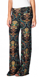 Print Palazzo Pants - Made in USA - ST02