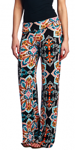 Print Palazzo Pants - Made in USA - ST26