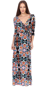 Maxi Dress With Sleeves - Casual Colorful Floral Summer Wedding Prints - Made In USA - ST31