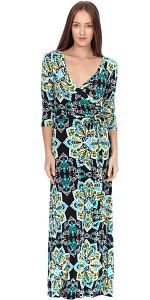 Maxi Dress With Sleeves - Casual Colorful Floral Summer Wedding Prints - Made In USA - ST32