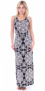 Sleeveless Maxi Dress for Women - Fitted Floor Length Autumn Dress - Made In USA