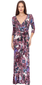 Maxi Dress With Sleeves - Casual Colorful Floral Summer Wedding Prints - Made In USA - ST37