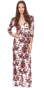 Maxi Dress With Sleeves - Casual Colorful Floral Summer Wedding Prints - Made In USA - ST53