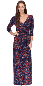 Maxi Dress With Sleeves - Casual Colorful Floral Summer Wedding Prints - Made In USA - ST55