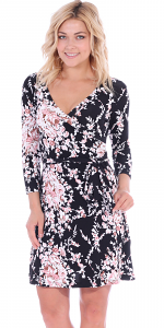 Floral Print Midi Summer Dress - 3/4 Sleeve Casual Flowy Short Dress - Made In USA - ST57