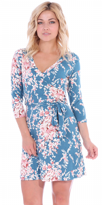Floral Print Midi Summer Dress - 3/4 Sleeve Casual Flowy Short Dress - Made In USA - ST60