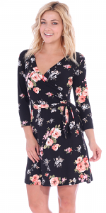 Floral Print Midi Summer Dress - 3/4 Sleeve Casual Flowy Short Dress - Made In USA - ST75