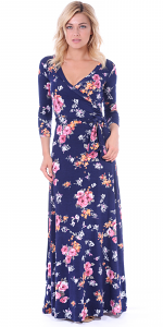 Maxi Dress With Sleeves - Casual Colorful Floral Summer Wedding Prints - Made In USA - ST76