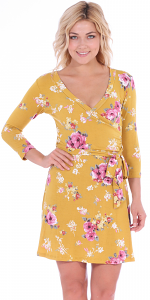 Floral Print Midi Summer Dress - 3/4 Sleeve Casual Flowy Short Dress - Made In USA - ST77
