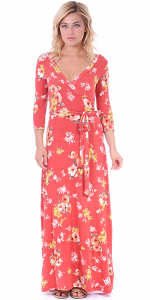 Maxi Dress With Sleeves - Casual Colorful Floral Summer Wedding Prints - Made In USA - ST78