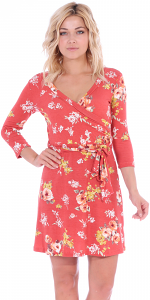 Floral Print Midi Summer Dress - 3/4 Sleeve Casual Flowy Short Dress - Made In USA - ST78