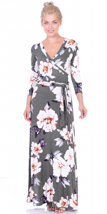 Maxi Dress With Sleeves - Casual Colorful Floral Summer Wedding Prints - Made In USA - ST86