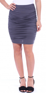 Womens Ruched Bodycon Pencil Skirt High Waist Above Knee - Made in USA - Slate