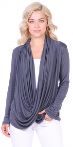 Long Sleeve Criss Cross Cardigan Also in Plus - Made In USA - Slate
