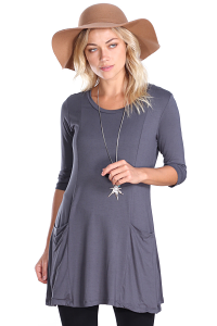 Women's 3/4 Sleeve Tunic With Pockets - Made in USA - Slate