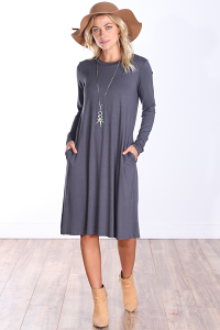 Womens Below the Knee Long Sleeve Swing Dress with Pockets - Made In USA ( Slate )