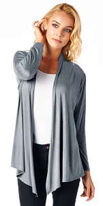Super-Soft Open Front Drape Cardigan - Made In USA - Steel