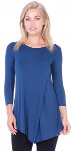 Flattering Asymmetrical Hem 3/4 Sleeve Tunic Top - Made In USA - Teal