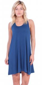 Sleeveless Knee Length Tank Dress - Casual Short Sundress - Made in USA