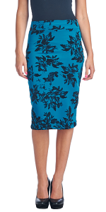 Womens Stretch Pencil Skirt Knee Length for Work or Office - Shaping Bodycon Midi Skirt - Made In USA - Teal