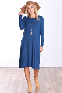 Womens Below the Knee Long Sleeve Swing Dress with Pockets - Made In USA ( Teal )