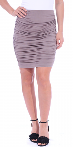 Womens Ruched Bodycon Pencil Skirt High Waist Above Knee - Made in USA - Toffee
