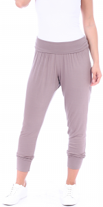 Women's Harem Pants Cropped Jogger Style Ankle Length Sweatpants - Made In USA - Toffee